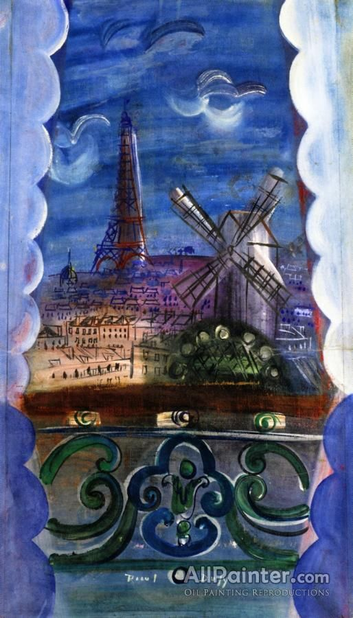 Raoul Dufy,Window Overlooking The Eiffel Tower And The Moilin Rouge oil painting reproductions for sale
