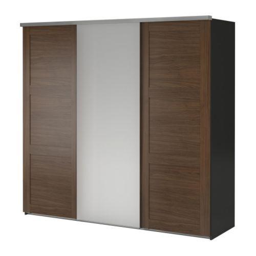 elg wardrobe with 3 sliding doors gray engan fenstad ikea bedrooms pinterest. Black Bedroom Furniture Sets. Home Design Ideas
