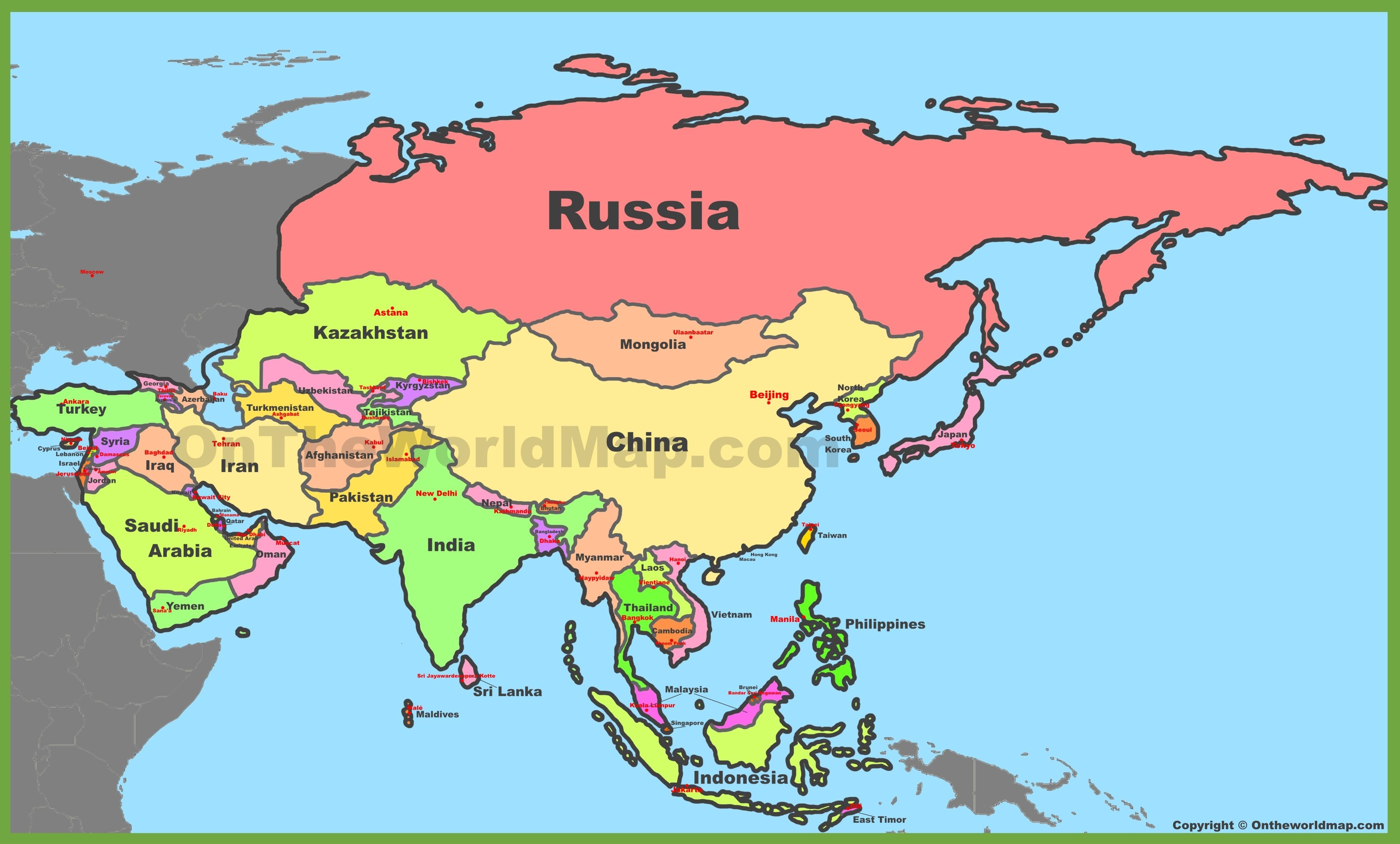 Map Of Asia With Countries And Capitals Beijing Asia Map World