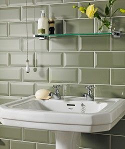 Metro Tiles In A Neutral Olive Green Colour For Shower