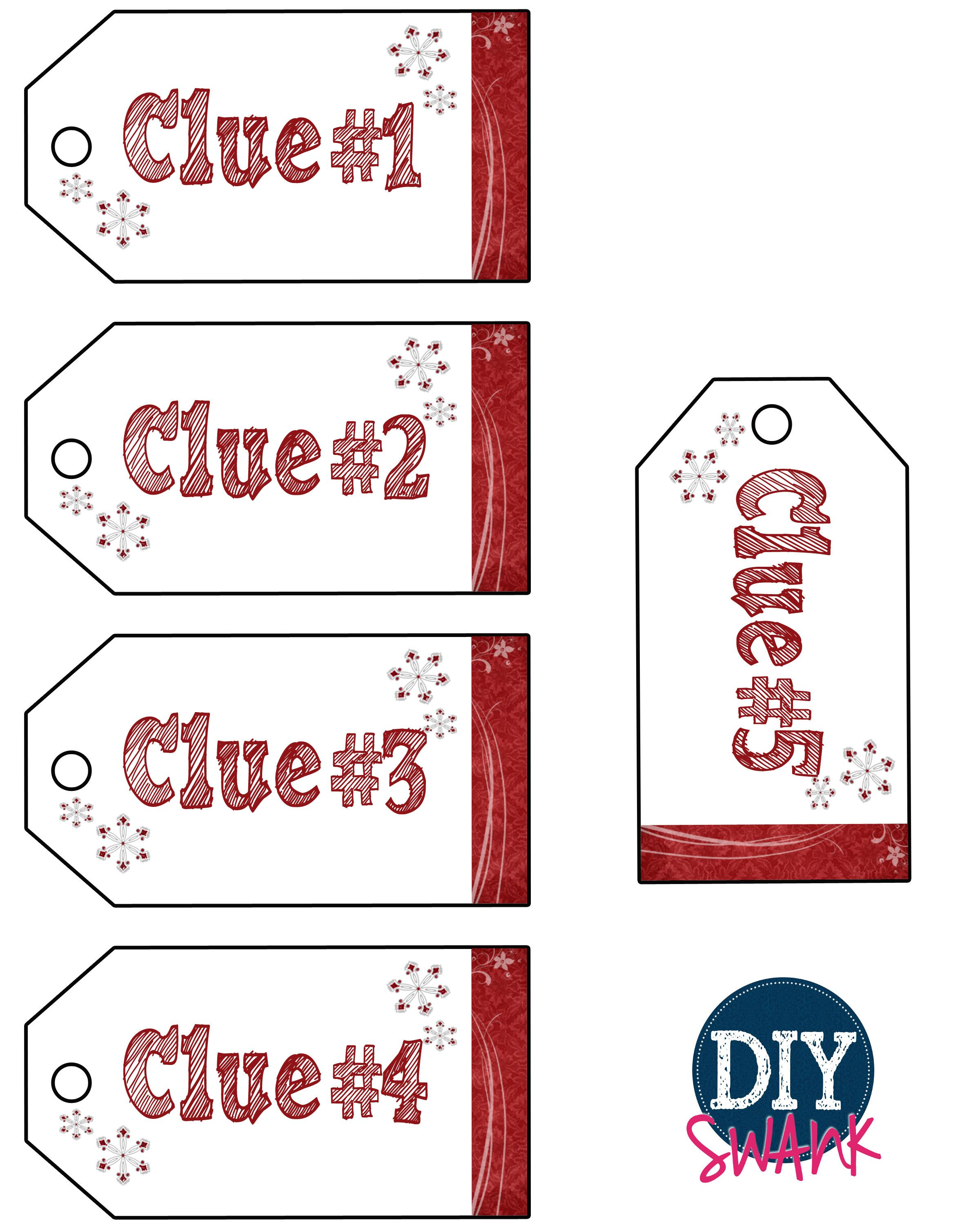 This is a graphic of Shocking Christmas Scavenger Hunt Printable Clues