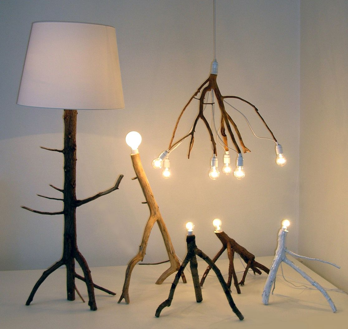 Pendant as well as floor standing lamps made from tree branches ...