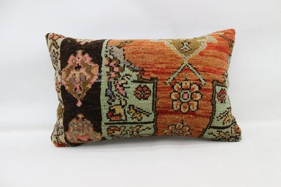 Turkish Rug Pillow, 16x24 Natural Pillow, Covers Pillow, Orange Pillow, Vintage Pillow, Embroidered