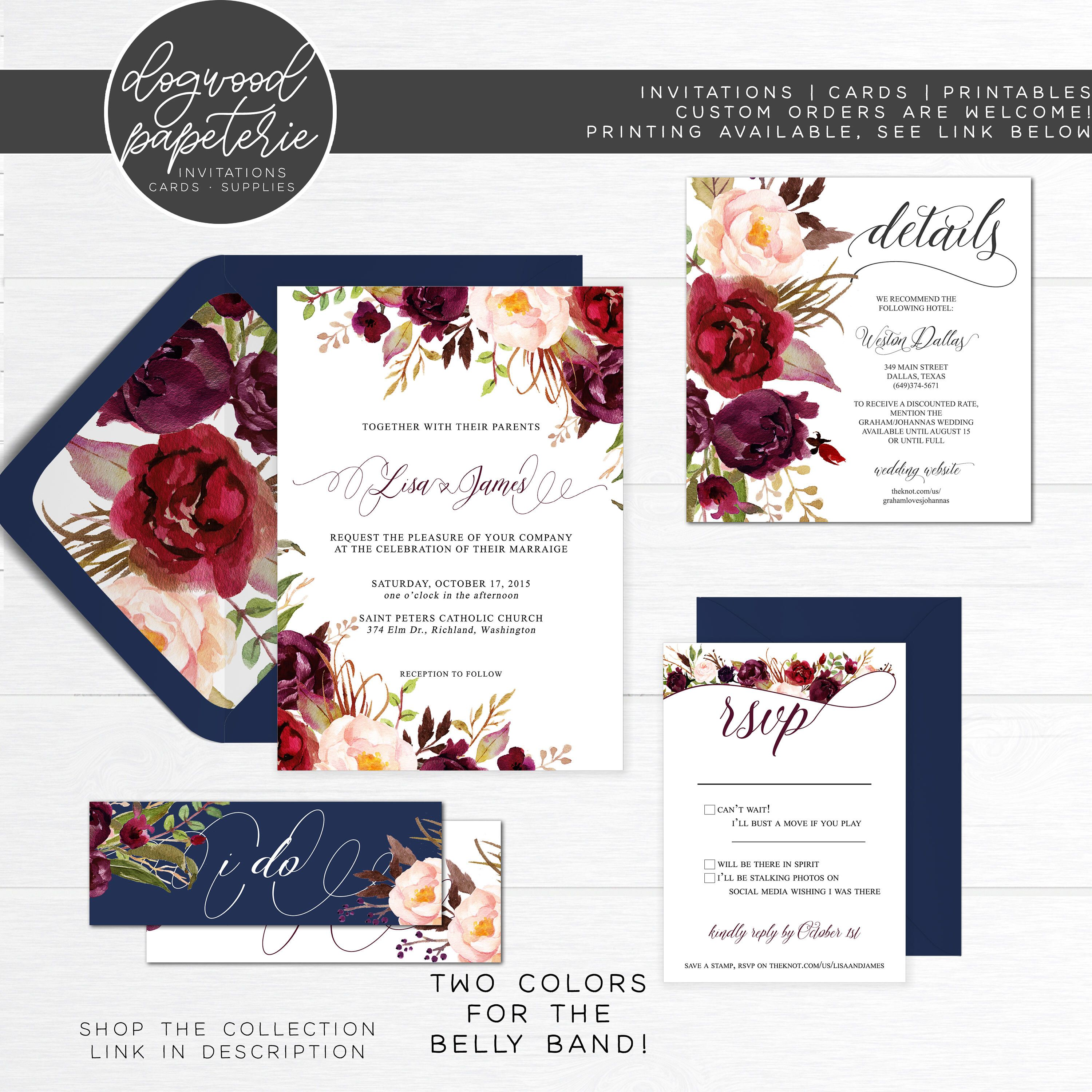 Fall Rustic Burgundy Wedding Invitation RSVP Suite with