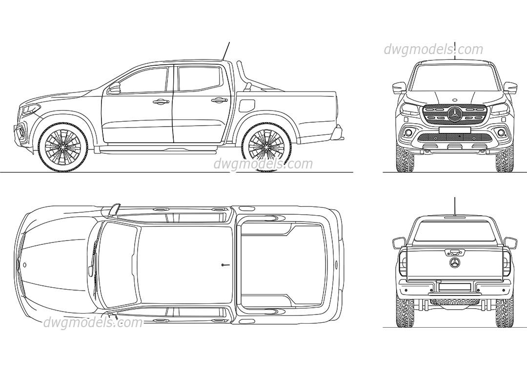 Mercedes Benz X Class Cad Blocks Free Dwg File Cars