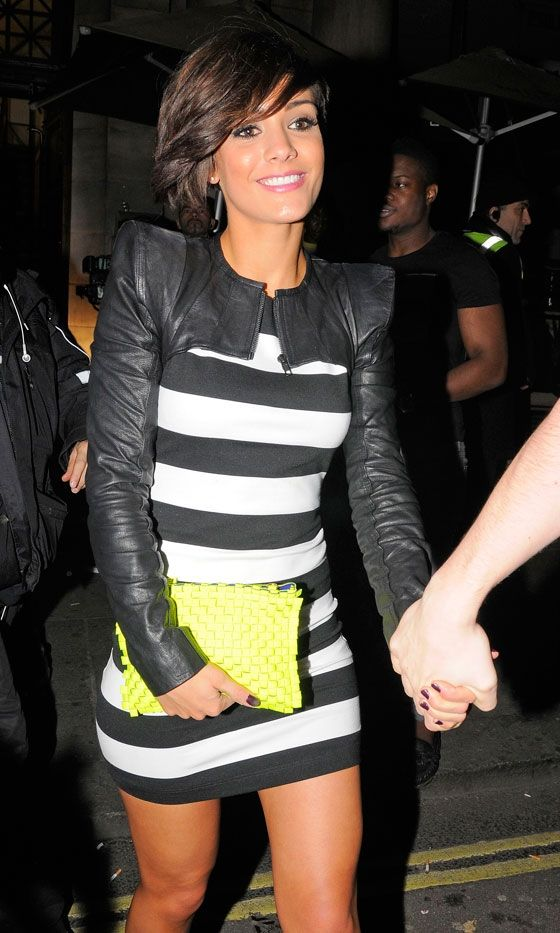 pretty  Frankie Sandford Mixes Stripes And Leather For Rochelle Wiseman's 23d Birthday Party, March 2012