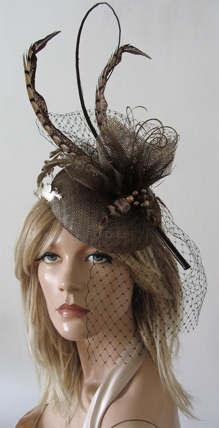 ca5ecb4ab5c73 Dark Gold Brown   Black Feathered Button Fascinator Hatinator Hat Ascot or  other Race Day Fashion