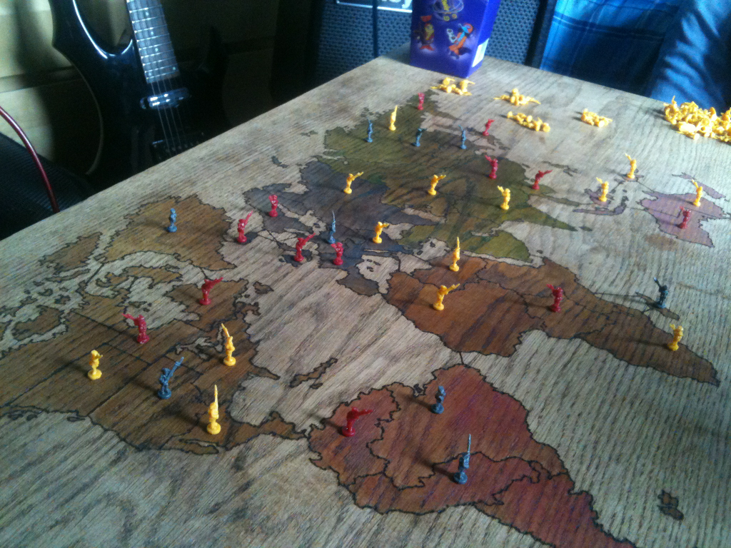 Homemade Risk table made using a pyrography pen Wooden