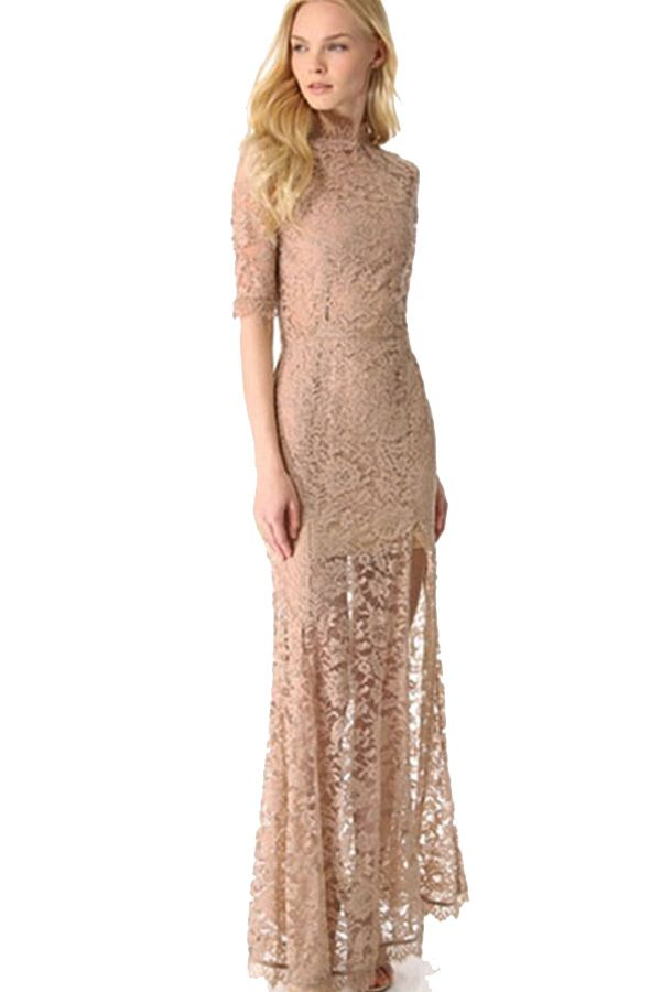 Long sleev lace mock neck dress