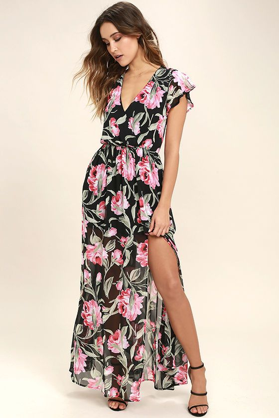 e64f6a0af5bf0 The Where Wildflowers Grow Black Floral Print Maxi Dress will be wherever  the sunshine goes! Fluttering short sleeves frame a surplice bodice  composed of ...