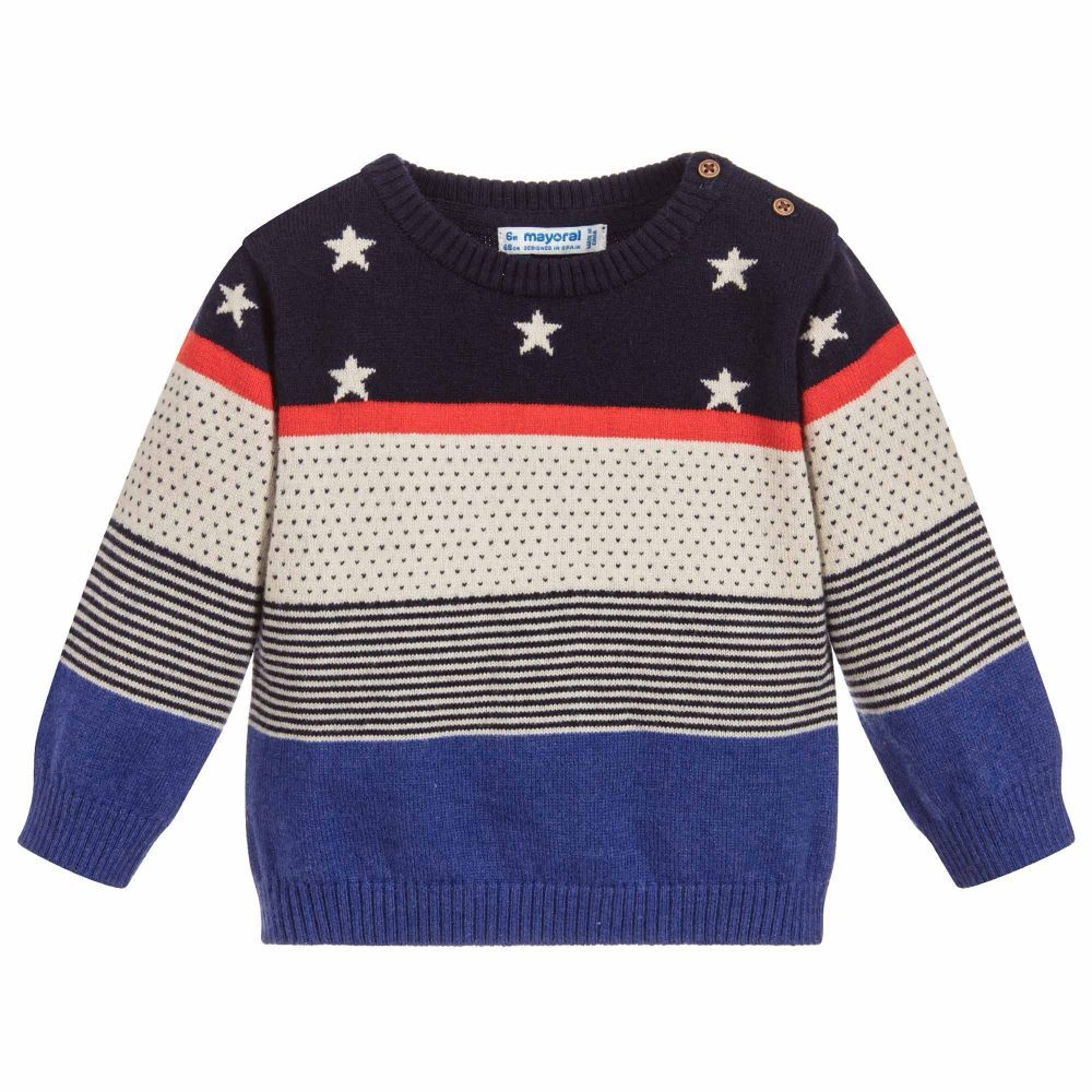 ef06e294a536 Boys Blue Star Cotton Sweater for Boy by Mayoral. Discover the latest  designer Tops for kids online