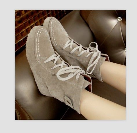I found 'Casual Lacing Buckle Embellished Flat Short Boots Beige' on Wish, check it out!