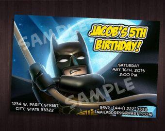 Lego Batman Cumpleaños Personalizadas Invitaciones Por