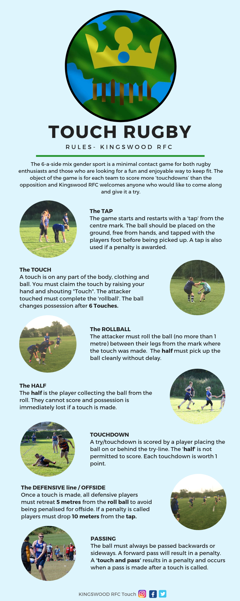 Touch Rugby Basic Rules Infographic Great Way To Start O2touch