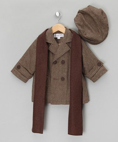 Brown Houndstooth Pea Coat, Hat & Scarf - Infant, Toddler & Boys ...