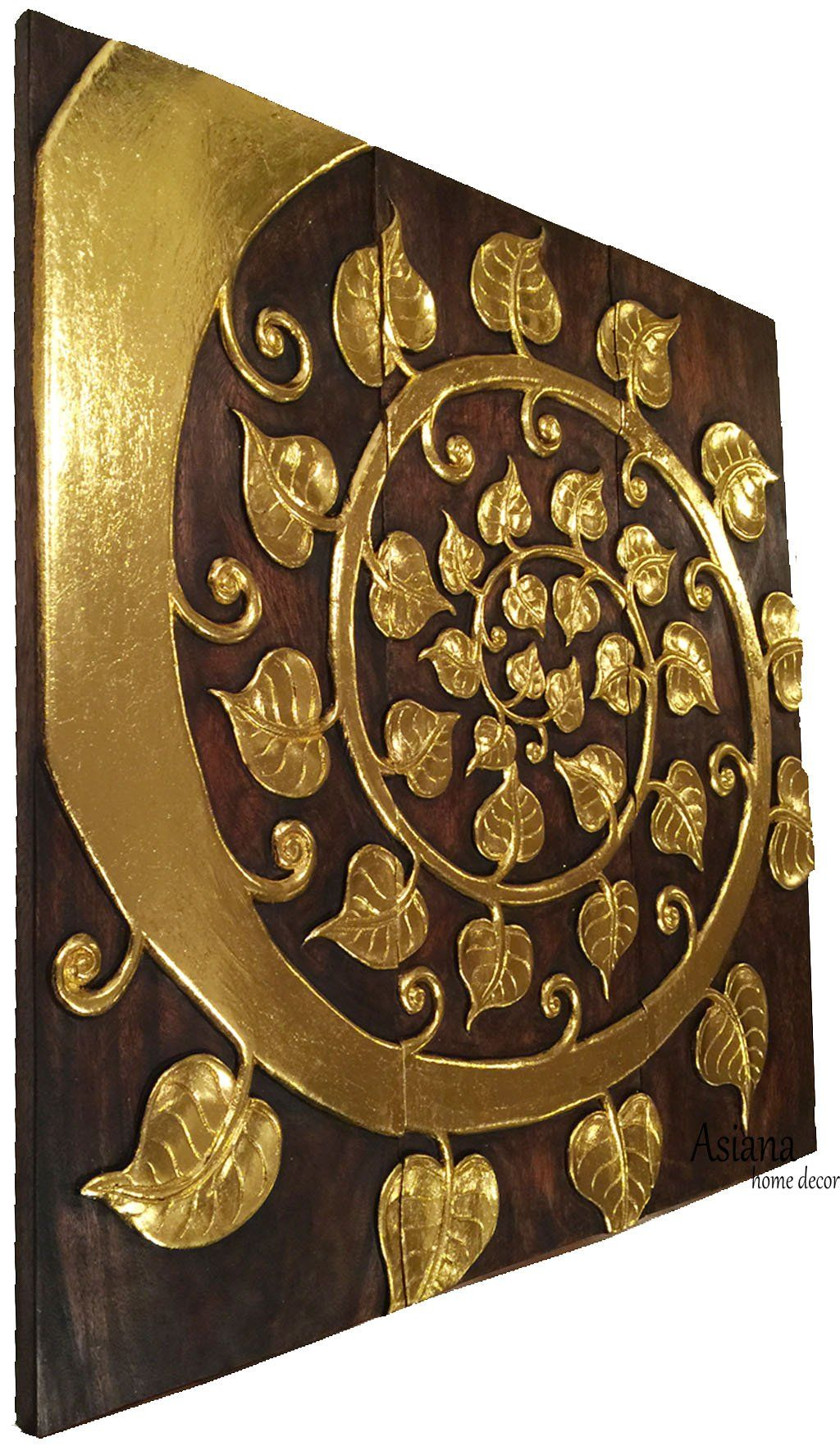 Asian wood wall art panels elegant gold sacred fig leaf relief wood