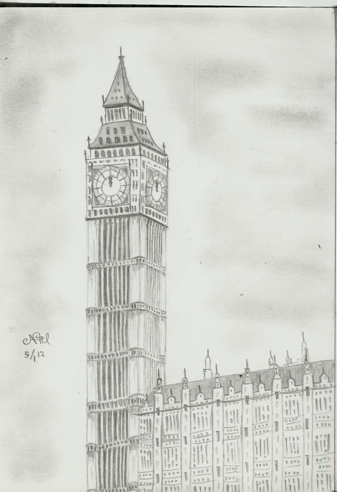 Big ben pencil sketch