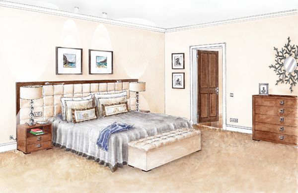 Bedroom Drawing Design Interior SketchInterior