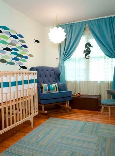 Love The Shades Of Blue And Sea Horse Decoration Perfect For If My Little Baby P Turns Out To Be A Boy