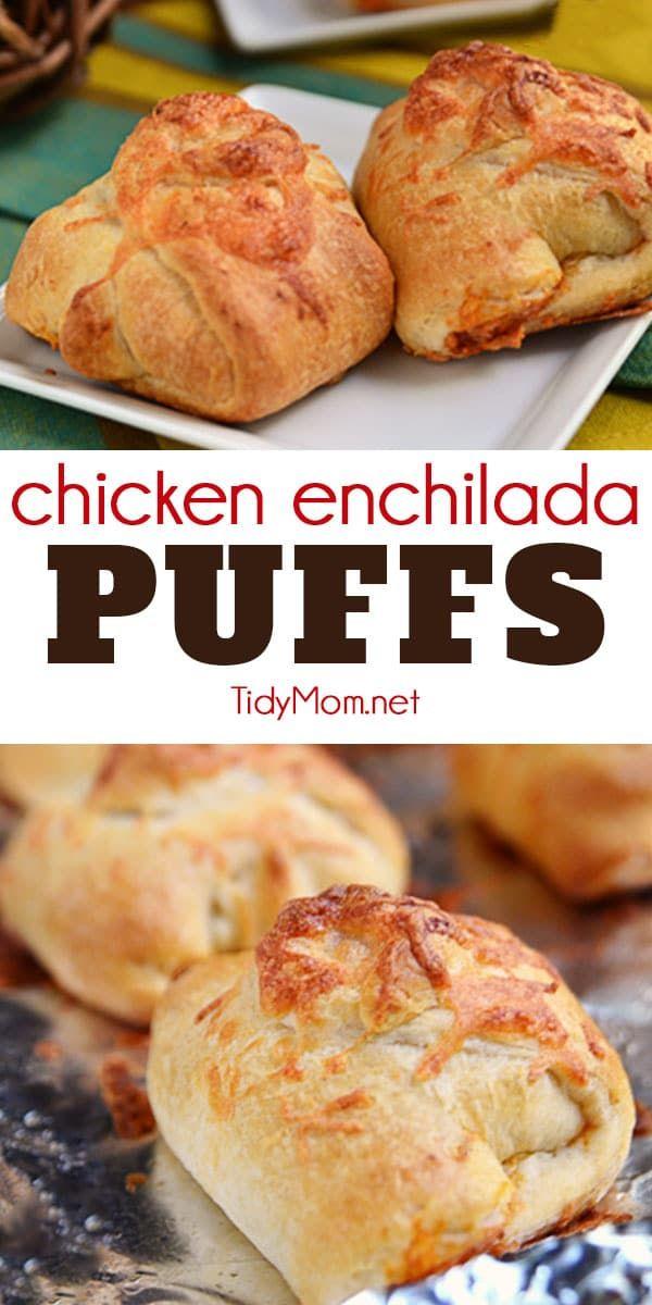 Chicken Enchilada Puffs #fingerfoods