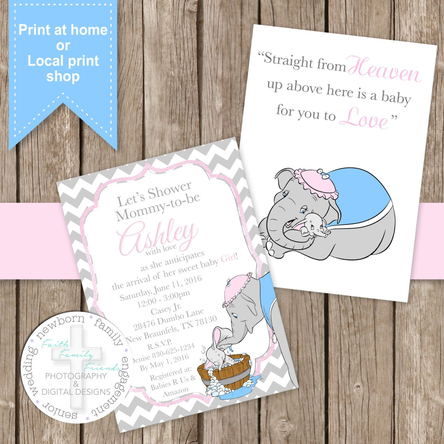 Sweet Dumbo Invitation - Facebook Event Cover - Banner - Snap Chat ...