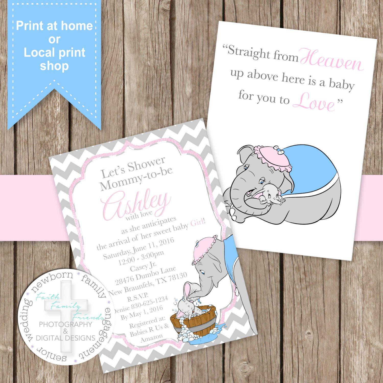 Printed Sweet Dumbo Invitations Dumbo Baby Shower Baby