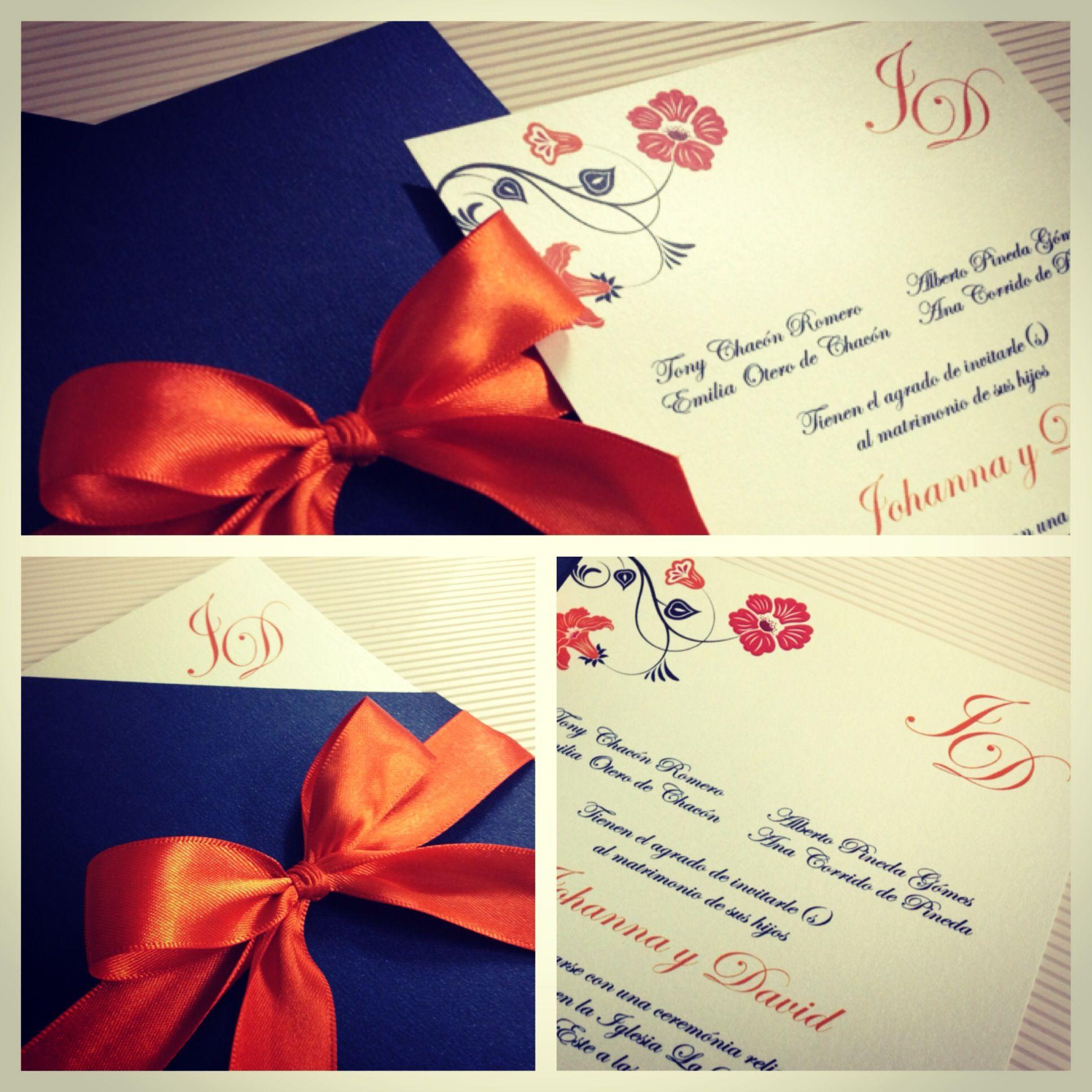 Invitación para boda naranja
