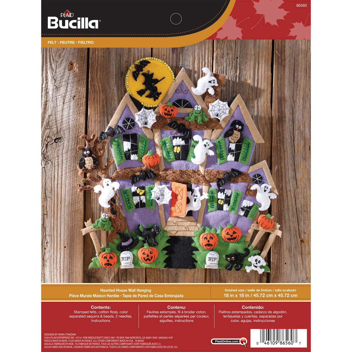 86560 Haunted House 18 by 18-Inch Bucilla Felt Applique Wall Hanging Kit