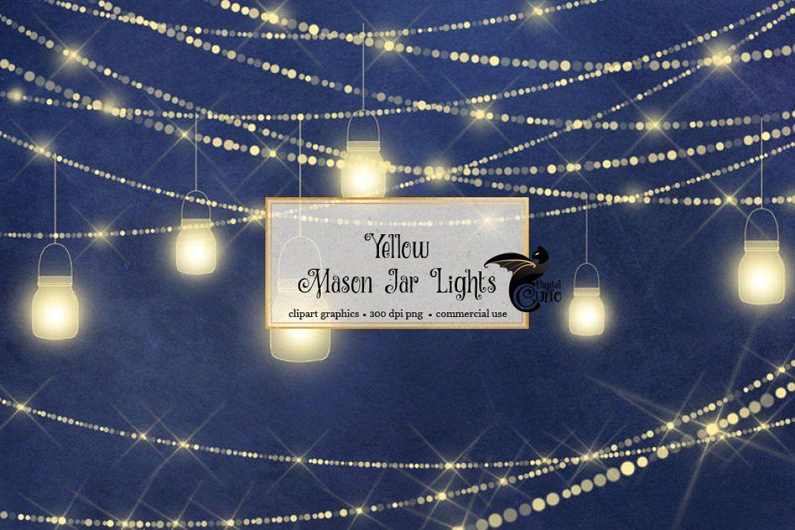 Yellow Mason Jar Lights String Clipart Clip Art
