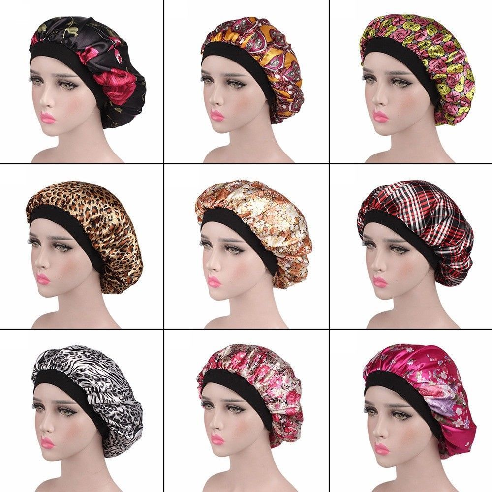 6486fe9bfce Ladies Women Wide Band Satin Bonnet Comfortable Night Sleep Hat Hair Cap  Turban