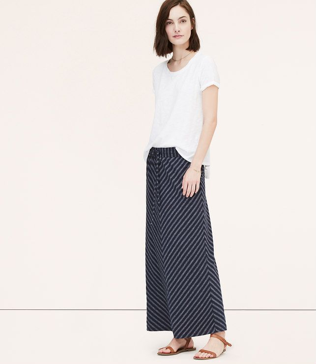 Primary Image of Petite Chevron Drawstring Maxi Skirt