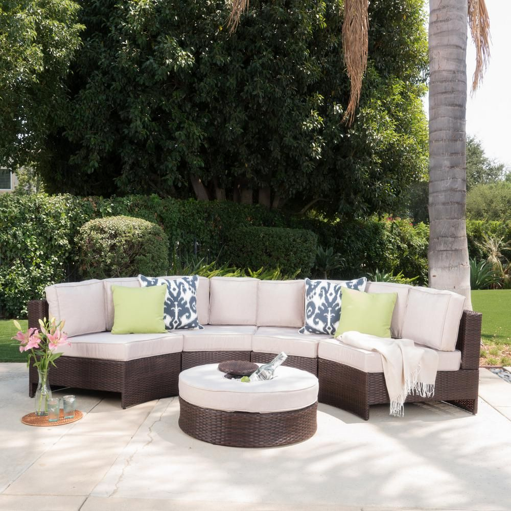 Noble House 12-Piece Wicker Patio Sectional Seating Set with