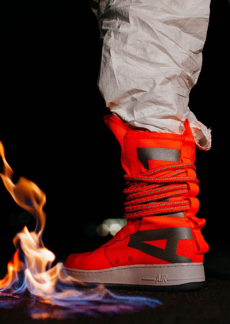 How The Nike Sf Af1 High Total Orange Looks On Feet Nike Sf Af1 Nike Air Force 1 High