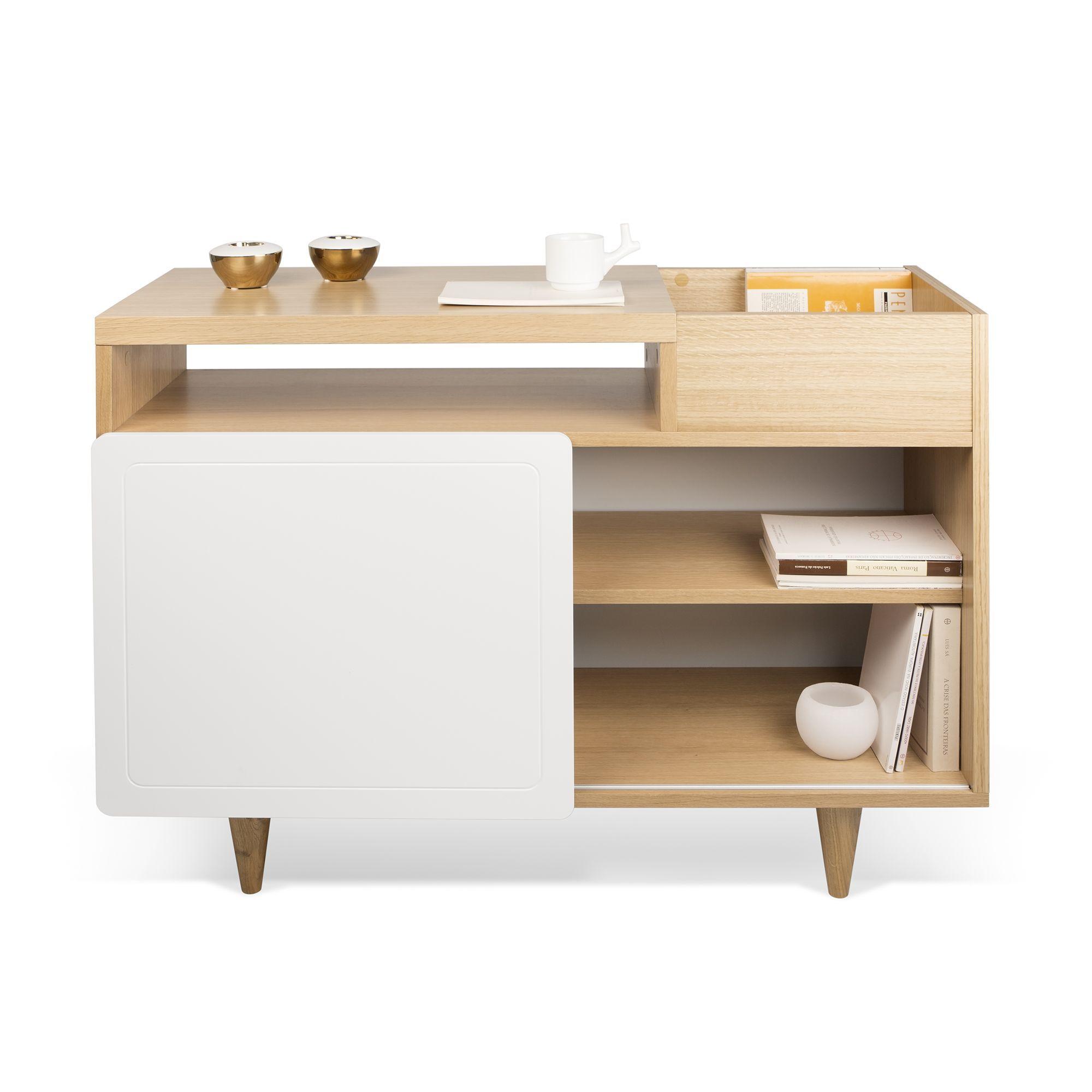 Petit buffet placage chêne finition laqué blanc - Nyla - Buffets-Buffets,  Vaisseliers- 4e60f960c77c