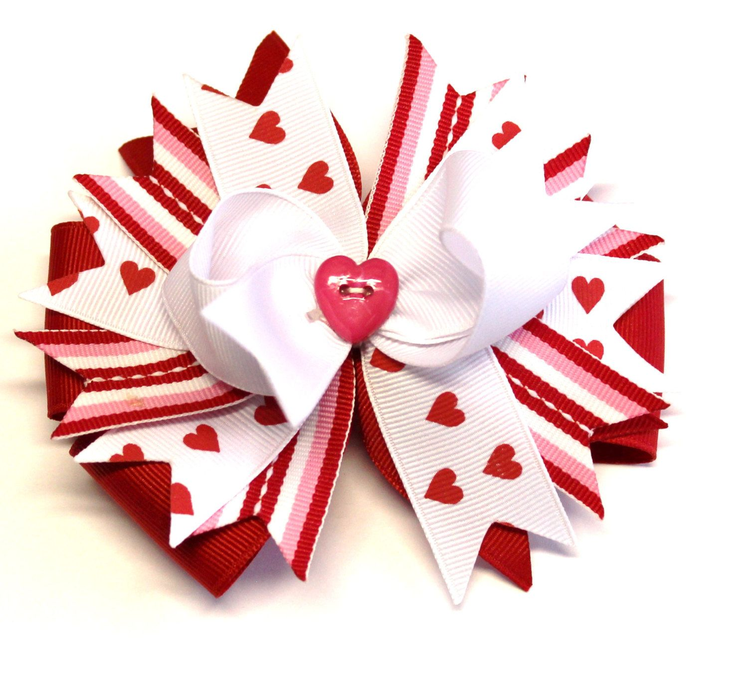 Boutique Valentine's Day Hair Bow Clip by prettybowtique on Etsy