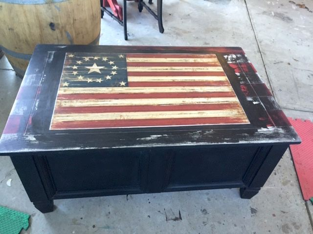 American Flag Coffee Table Storage Chest Coffee Table Chalk