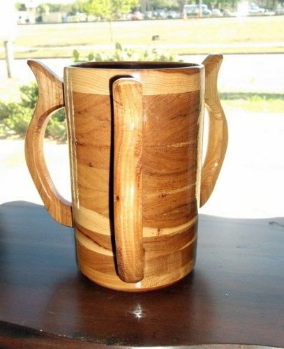 Handcrafted 3 Handled Wood Mug Hickory 64 oz Tankard, Beer Stein, Wood | WondrousWorksinWood - Woodworking on ArtFire