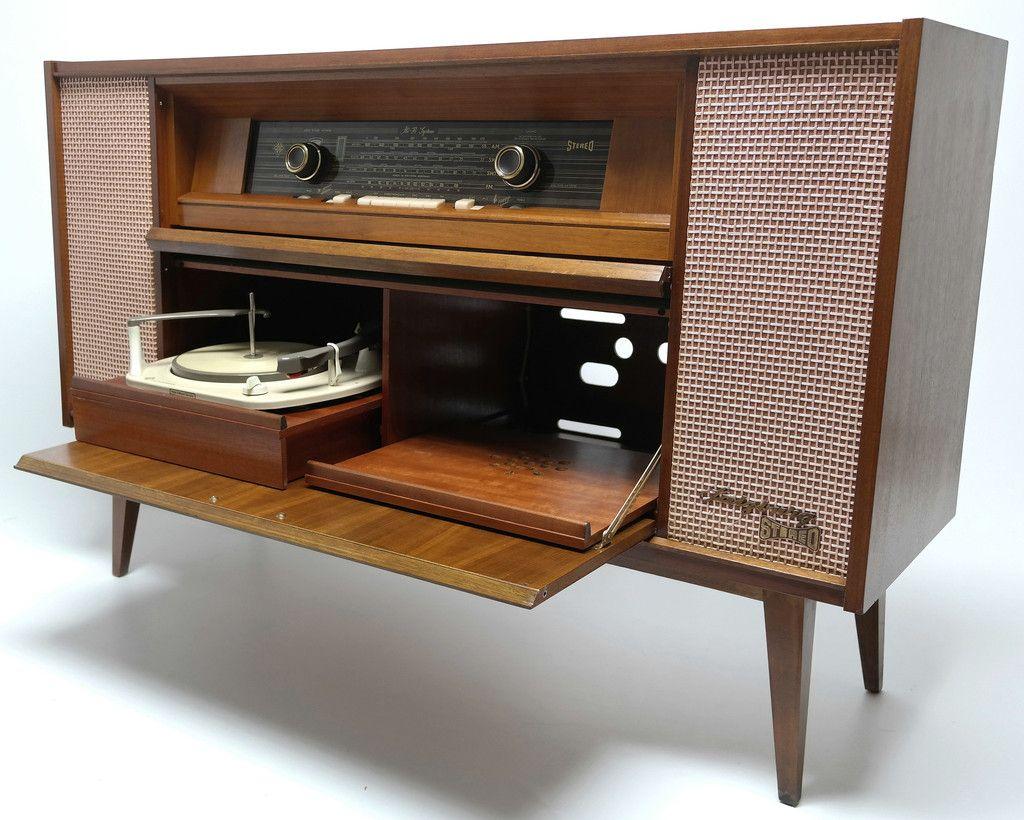 mid century telefunken selzburg 5094 stereo console record player bluetooth am fm tuner. Black Bedroom Furniture Sets. Home Design Ideas