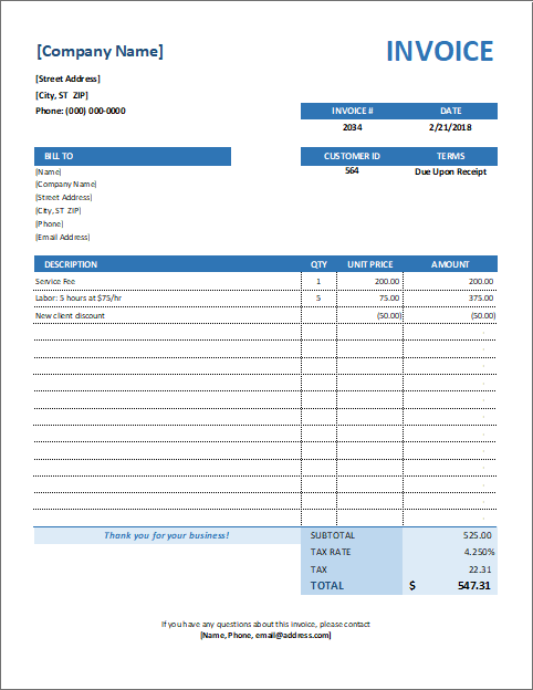 Service Invoice Template For Consultants And Service Providers Invoice Template Templates Estimate Template