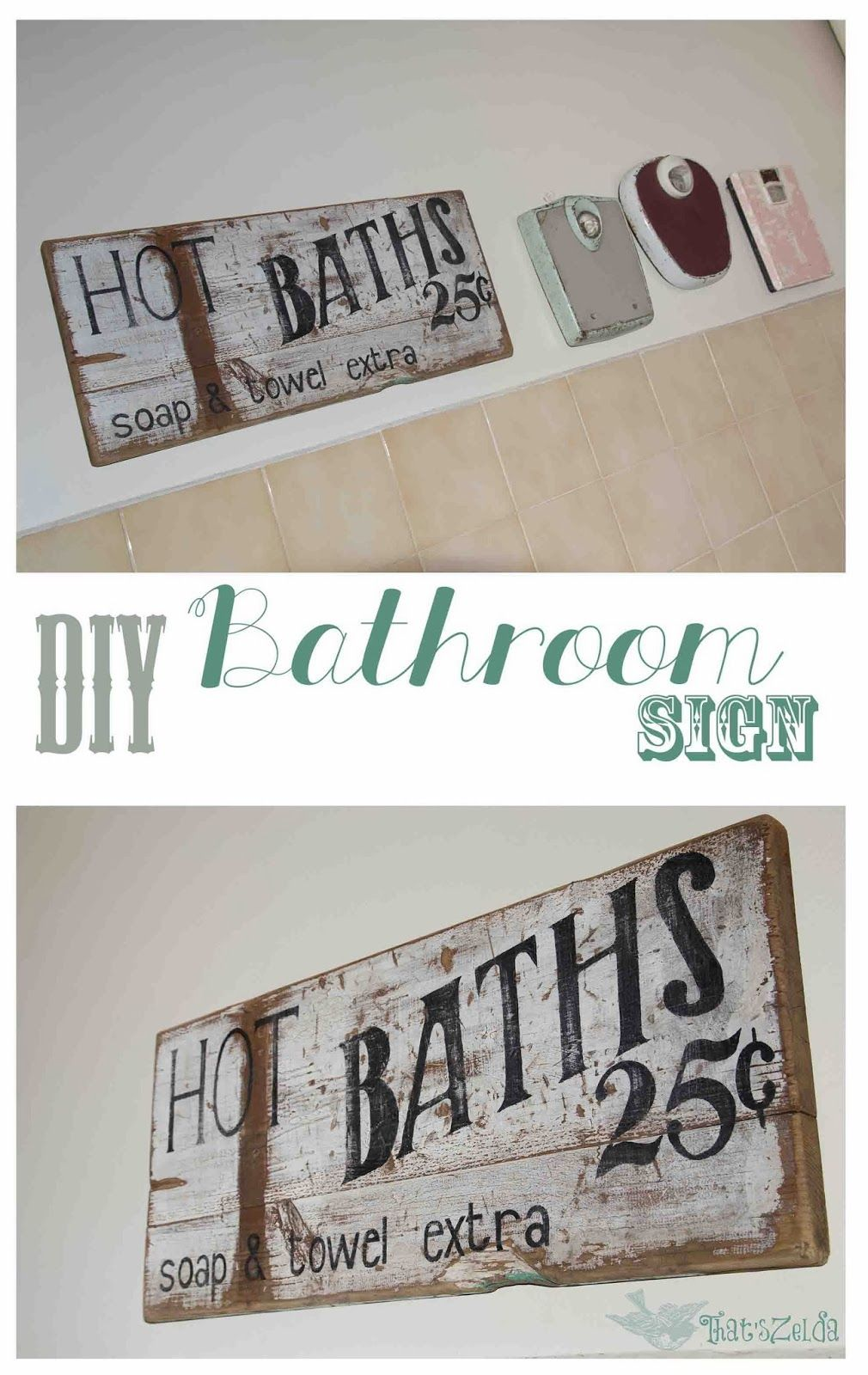 Diy Vintage Bathroom Sign Bathroom Signs Primitive