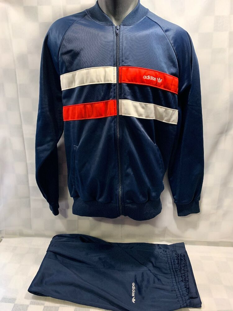 Vintage Adidas Blue Red White Track Suit Jacket And Pants Women S