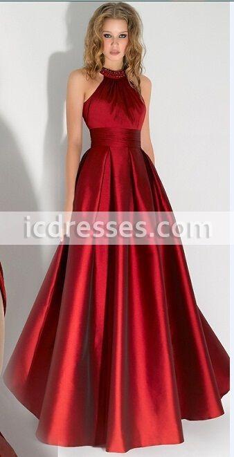 0967b1484c High Scoop Red Long Evening Dresses Halter with Beaded Floor Length Prom  Dresses Vestido De Festa Open Back Design
