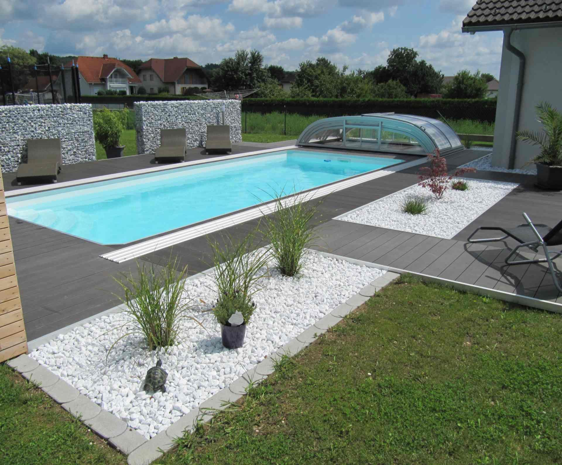 Level deck swimming pool Poolterrasse, Terrassendielen