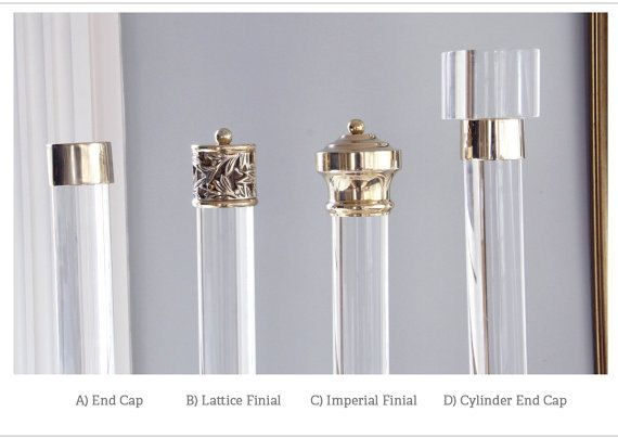 Finial For Lucite Curtain Rod Polished Or Satin Brass Acrylic