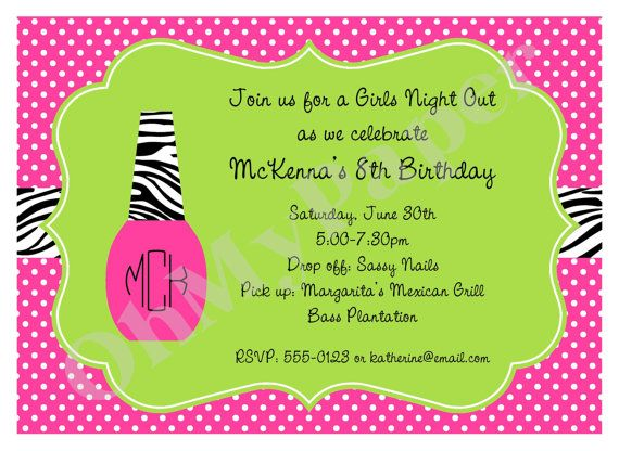 girls manicure party invitations school ideas d pinterest
