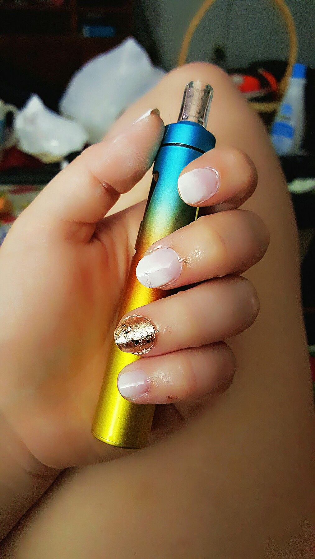 French ombre and gold accent nail
