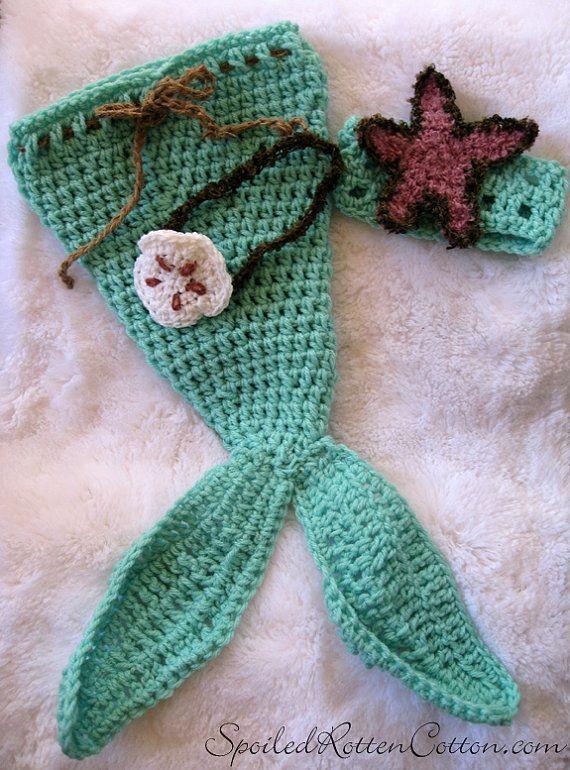 Crochet Mermaid Tail Costume Photo Prop, Crochet mermaid | new born ...