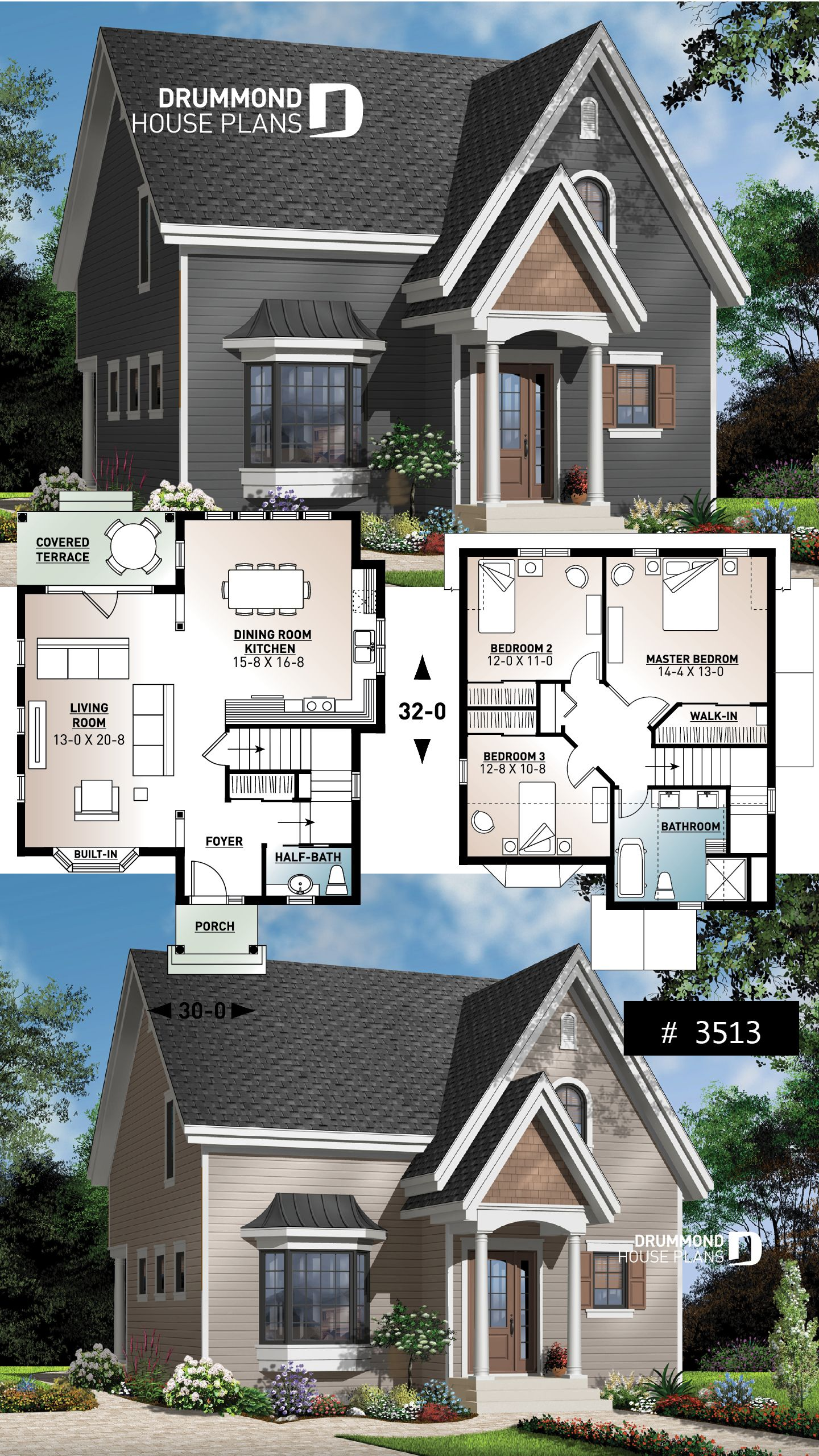 Discover The Plan 3513 Hazel Which Will Please You For Its 3 Bedrooms And For Its Traditional Styles In 2020 Small House Blueprints House Blueprints Sims House Design
