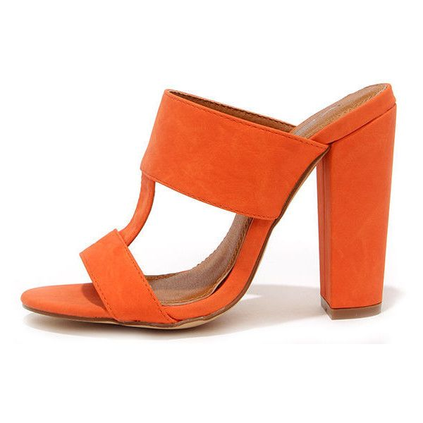 ee56e1b9e56 View and Improved Orange Peep Toe Mules ( 29) ❤ liked on Polyvore featuring  shoes
