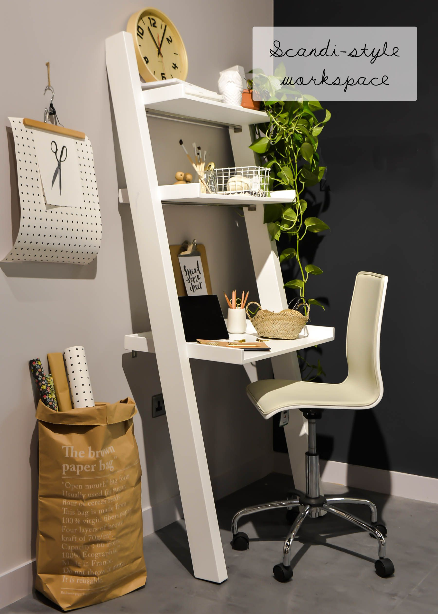 Styling at Dwell | Scandi workspace | Ladder desk ...